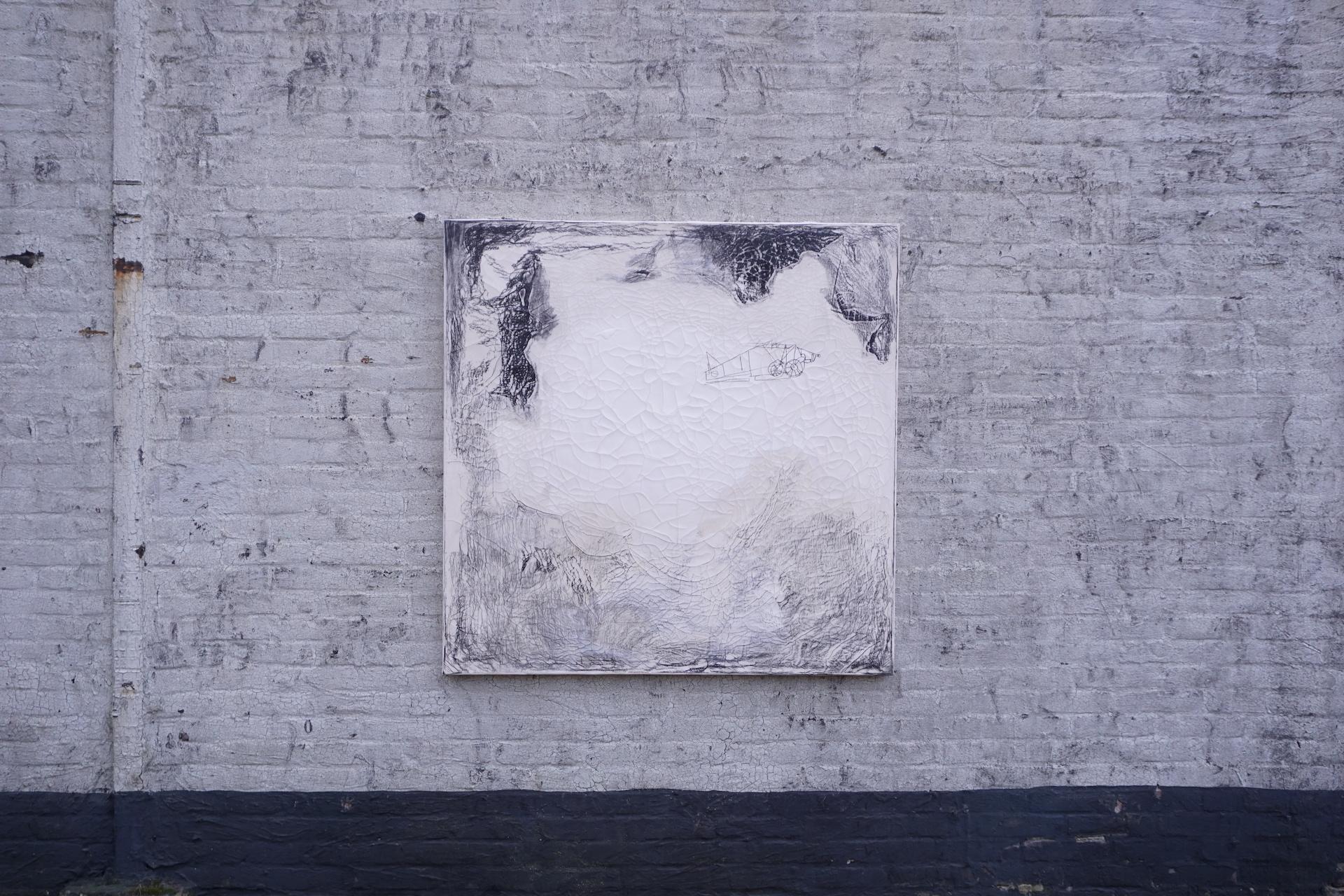 Surrounding Series: Plane, 2019, 120 x 120, rabbitskinglue, crayon powder, charcoal